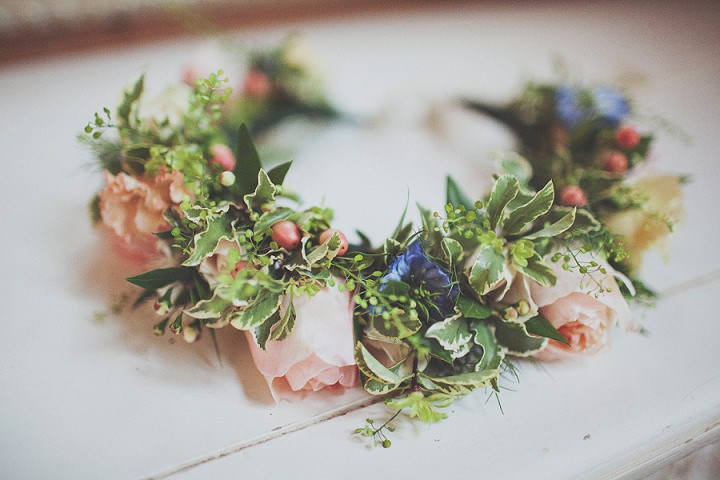 Styal Lodge Wedding flower crown in Cheshire By On Love and Photography