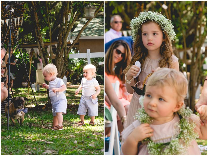 Backyard Florida Wedding flower girl with a BHLDN Dress