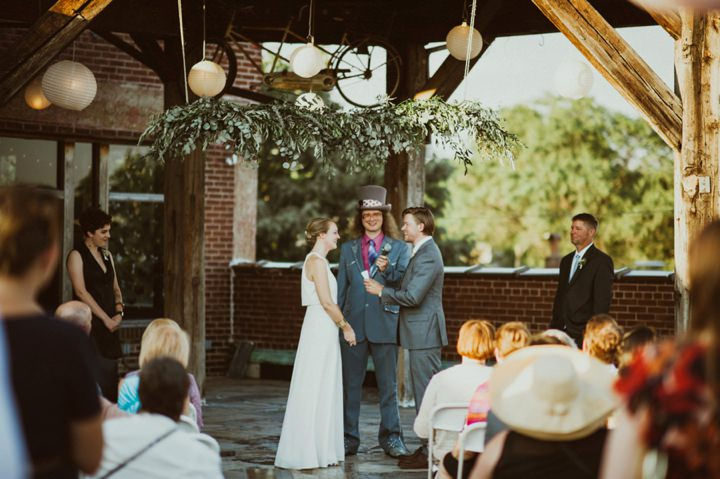 Erin and Keith's Roof Top Missouri Wedding With a BHLDN Dress by Charis Rowland