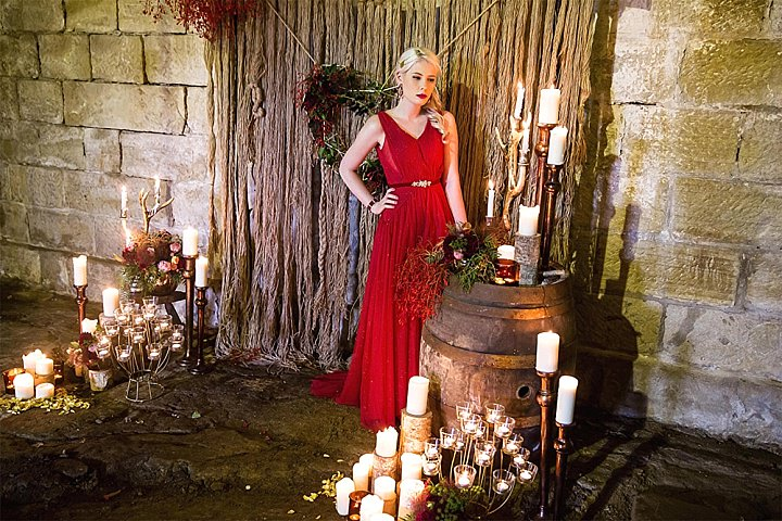Romantic Game of Thrones Inspired Shoot with a Red Gown from Catch Studio