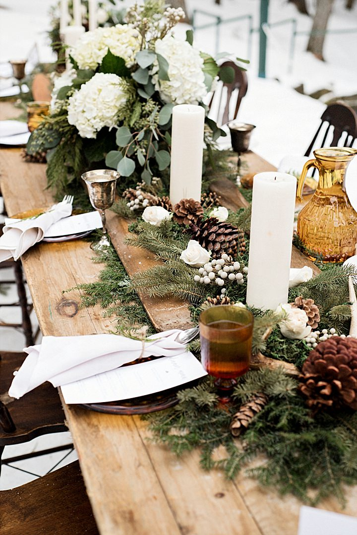 Rustic Pine Lodge Winter Elopement Inspiration from Cindy Lottes Photography