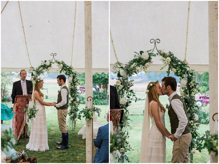 Festival Style Somerset Wedding with a Pink Tractor, english green and white flowers and outdoor games by Siobhan Amy Photography.