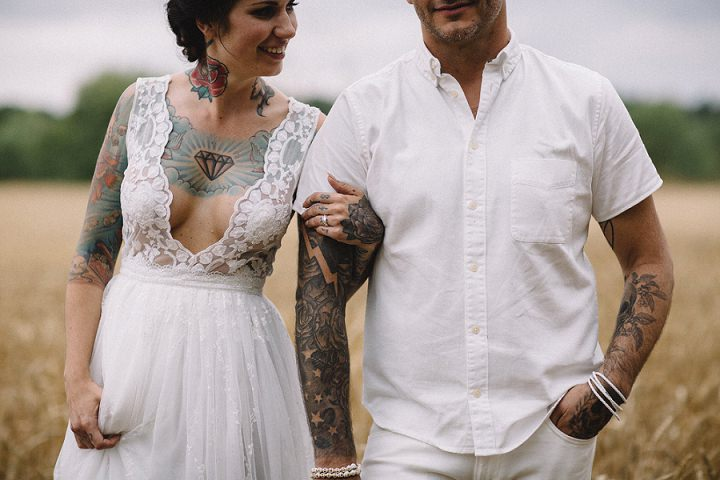jonas and pia s tattoo filled swedish wedding with a barefoot bride