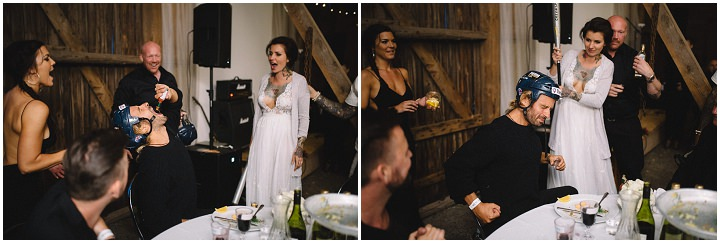 Jonas and Pia's Tattoo Filled Swedish Wedding With a Barefoot Bride by Loke Roos