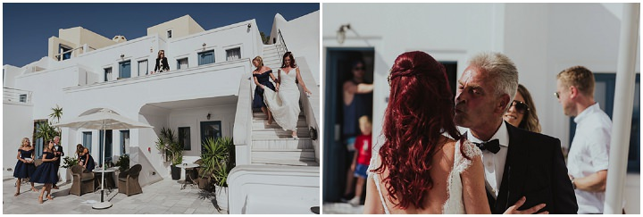 Elegant Santorini Wedding by Steve Fuller Photo, with white roses, an essence of australia gown and a helicopter ride