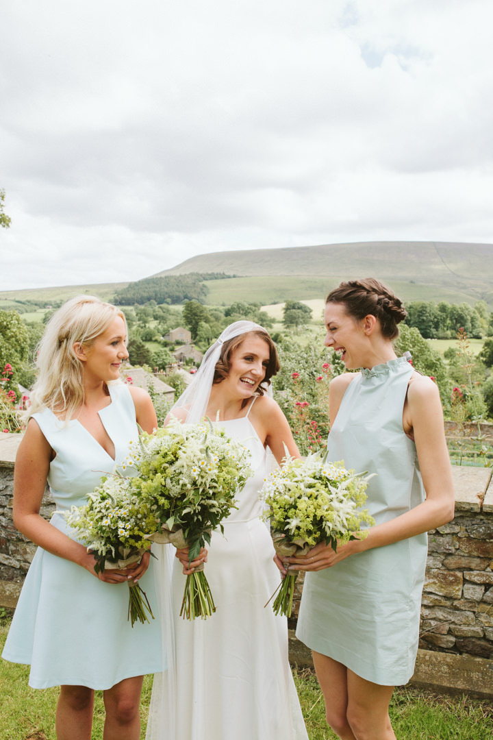 Homemade Village Hall Wedding in Lancashire by Katy Mutch with green and white flowers, afternoon tea and pizza.