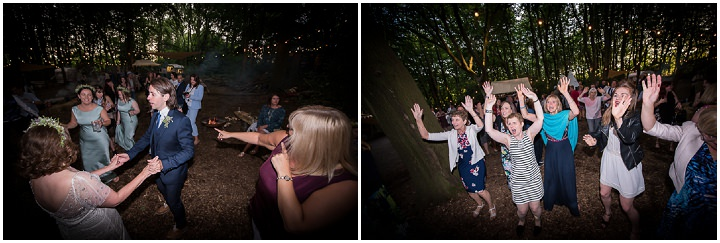 Family Affair Wonderful Woodland Wedding by Lucy Noble, with a Jenny Packham dress, bunting, a fire pit and dancing under the stars.