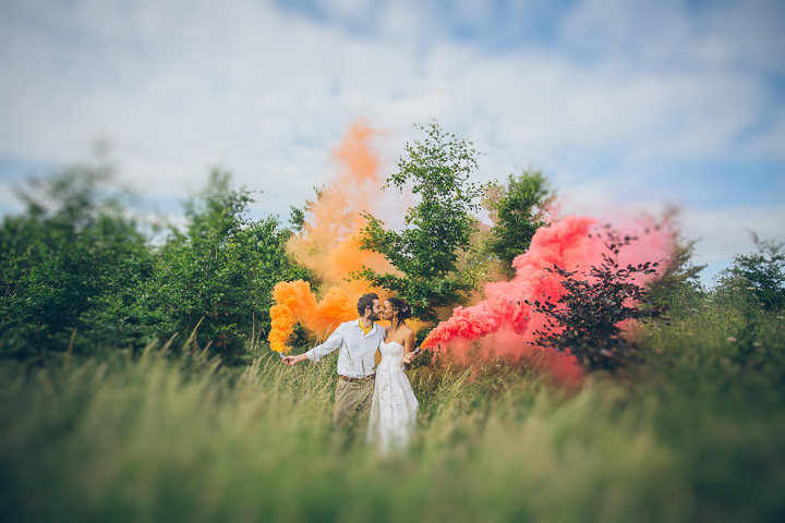 Free Spirited Outdoor Meadow Wedding by Larissa Joice Photography, with flags, wild flowers and a picnic
