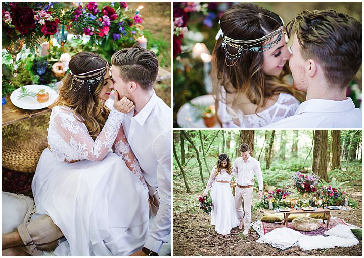 Woodland Boho Wedding Inspiration with Beachside Cake Cutting