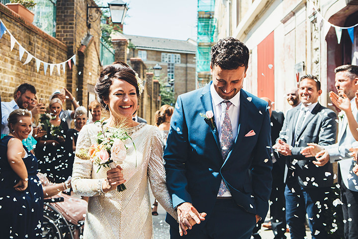 Music Loving East End Wedding by Leanne Jade Photography at the Hackney Empire and Wiltons Music Hall, with a vintage wedding dress.