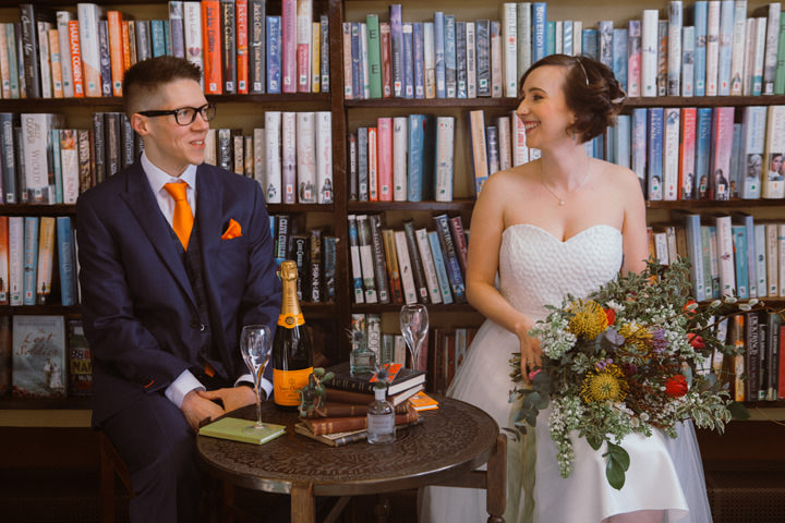 Cute Literary Library Wedding Inspiration
