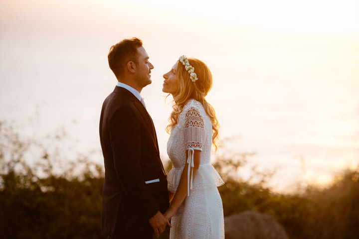Classic and Boho Chic Sardinia Wedding by Valeria Mameli, with flower crowns and a bohemain bride.