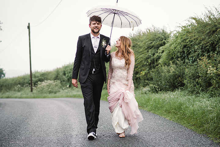 Sophie and Michael's 'Rebel Fairy meets Wannabe Rockstar' Barn Wedding by Amy Taylor
