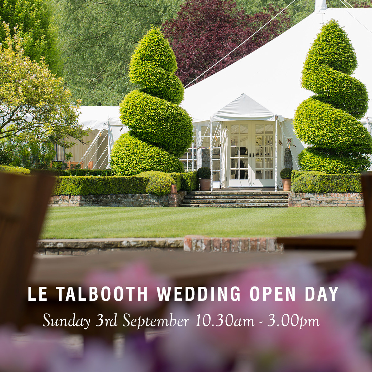 Wedding Flowers Keighley: Le Talbooth Marquee Wedding Open Day
