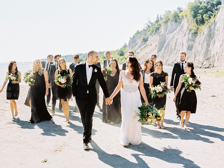 Jaimie and Robert's 'Minimalist Neon Jungle' Toronto Wedding with an Anna Campbell Gown by Leo Patrone