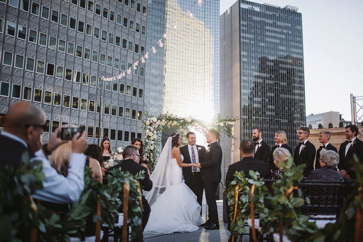 Alexandra and Landon's Elegant Marble Themed Rooftop Wedding by Nicholas Leitzinger