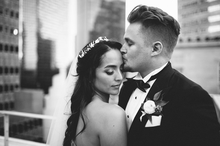 Alexandra and Landon's Elegant Marble Themed Rooftop Wedding by Nicholas Leitzinger