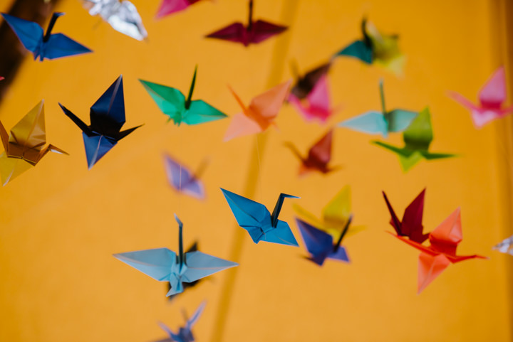 Rosalie and Sam's Relaxed and Colourful Tipi Wedding in Leicestershire with 1000 Paper Cranes by McGivern Photography