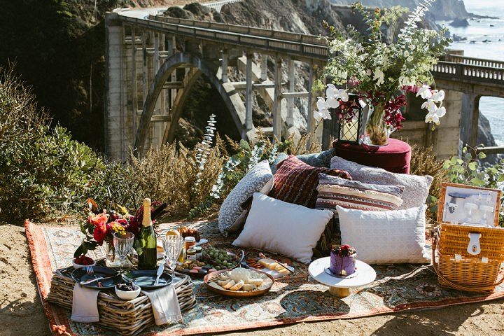 'A Picnic of Love at Big Sur' Bohemian Meets Indian Wedding Inspiration