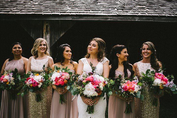 Deanna and Joshua's Rose Gold Rustic Barn Wedding in Torontoby Megan Michelle