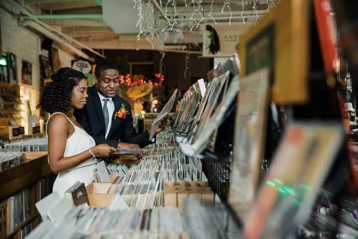 'Kiss The Sky' Retro Record Store Elopement Inspiration