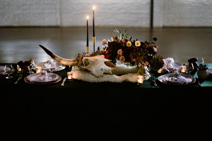 Electric Luxe Dark and Moody Tattooed Wedding Inspiration