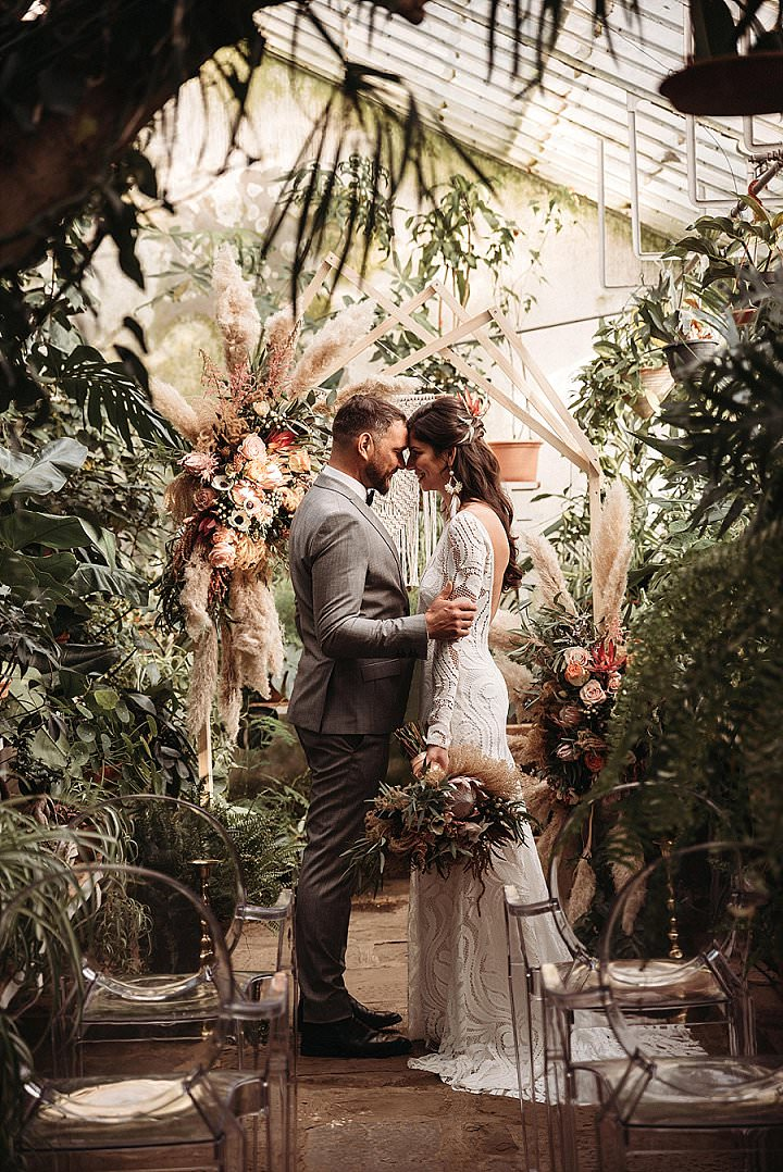 Nina and Jure's Bohemian Botanical Greenhouse Elopement by Everything & Beyond