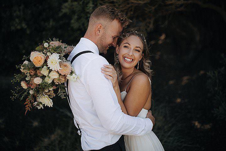 Jessica and Jake's 'Simplistic Bohemian' White and Peach Glass House Wedding by Zanda Photography