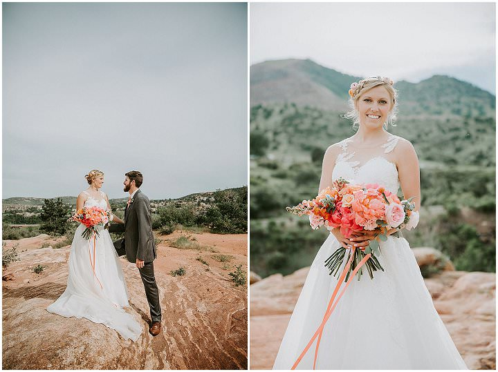 Travis and Alicia's Bright Coral Wedding with a Big Pink Balloon by Ashley Tiedgen Photography