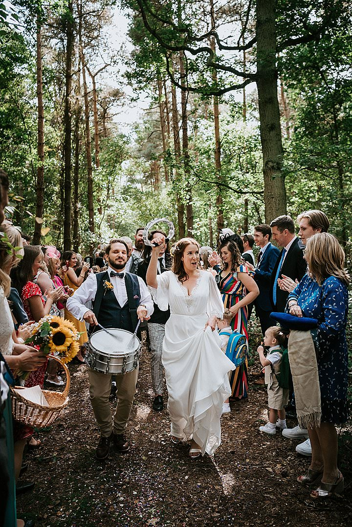 Katie and Sam's Music Filled 'Festival Vibes' Woodland Wedding by Nicola Thompson