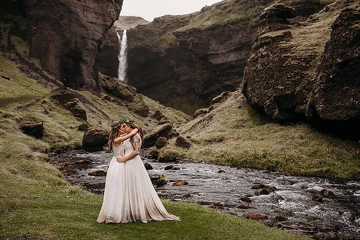 Cassidy and Hannah's Rain Filled Waterfall Elopement in Iceland by Vee Taylor Photo