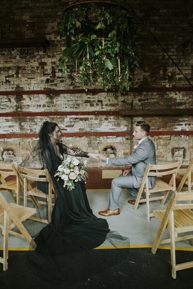 Black and Coral 'Elegant Meets Industrial' Sheffield Wedding Inspiration