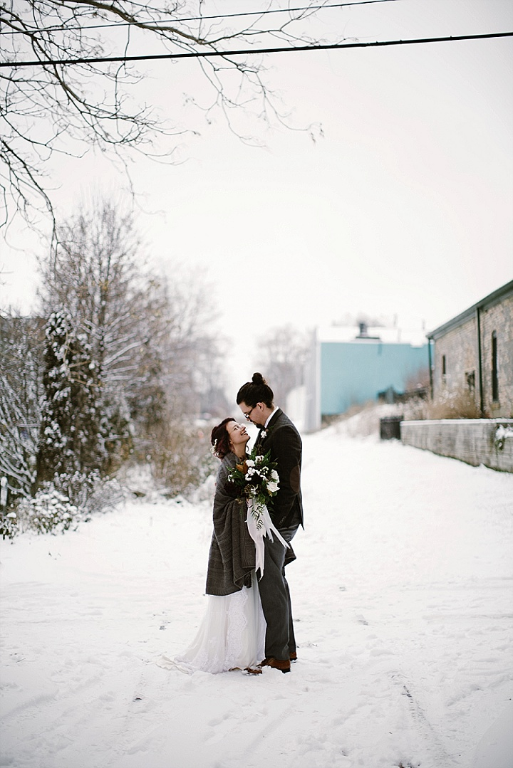 Abbie and Nathan's Snow Filled Industrial Chic Winter Wedding by Robyn and Finch