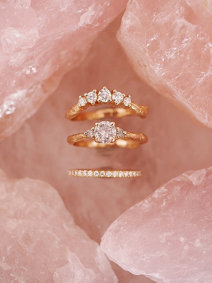 Bridal Style: 'Modern Heirlooms Made with Love' Chupi - Sparkling Grey Diamonds and Engagement Rings