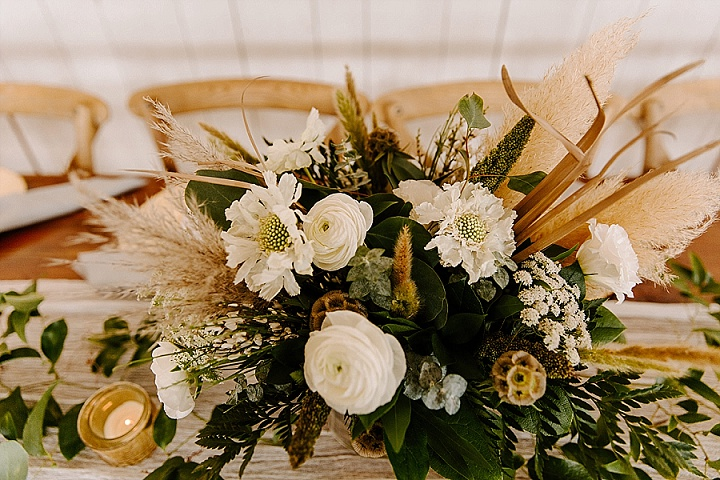 Caitlin and Samuel's Greenery and Pampas Grass Food Truck Texas Wedding by Local Embers & Co