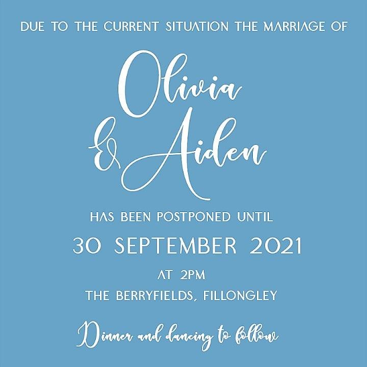FREE - Personalised Wedding Postponement Notes