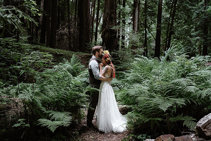 Katerina and Eric's Romantic and Emotional Boho Wedding in the Redwoods by Sebastien Bicard Photography