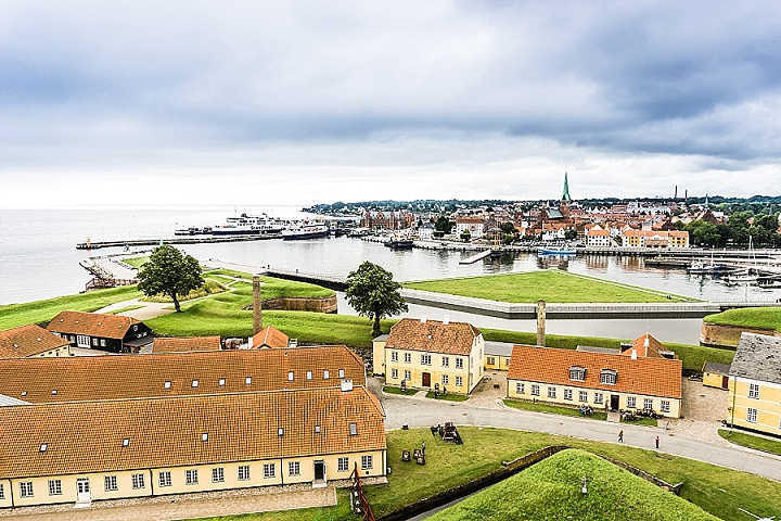 View of Helsingør city where couples are eloping abroad to get married in Hamlet's castle!
