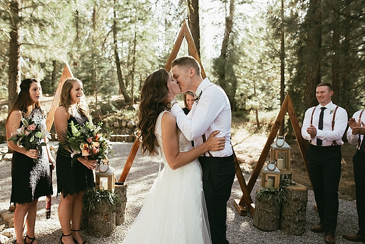 Cortney and Kevan's DIY California Forest Wedding with 1000 Paper Cranesby Matthew Lim Photography