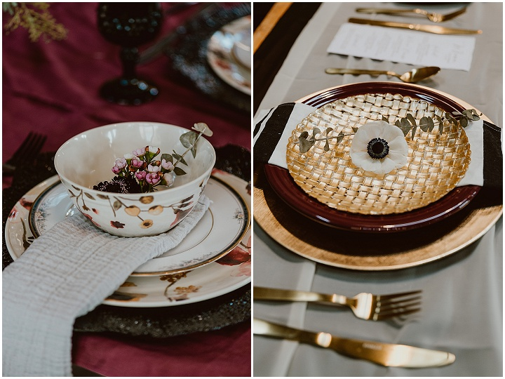 'Moody Industrial with a Vintage Twist' Black and Cranberry Halloween Wedding Inspiration