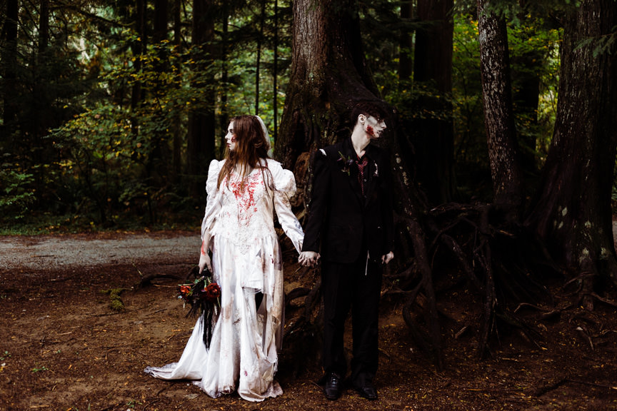 'Forest Halloween Zombie Wedding' - Halloween Special Wedding Inspiration