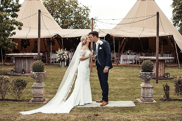 James and Victoria's 'English Garden' Tipi Wedding at Home in Essexby D&A Photography