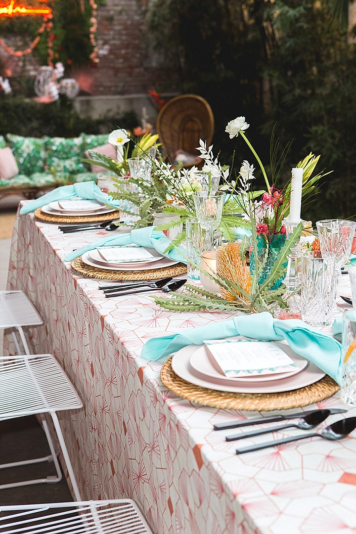 Vibrant Tiki Inspired Sustainable Wedding Inspiration in Downtown Los Angeles