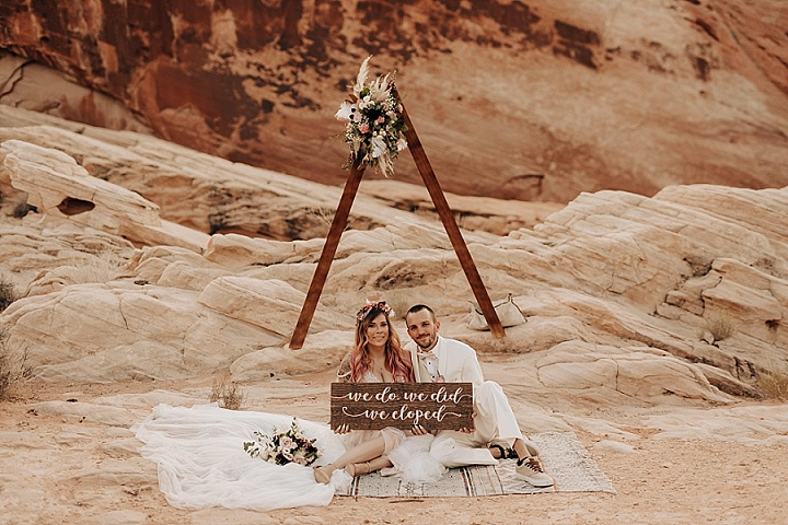 Courtney and Raymond's 'Dreamy Boho' Las Vegas Desert Elopement