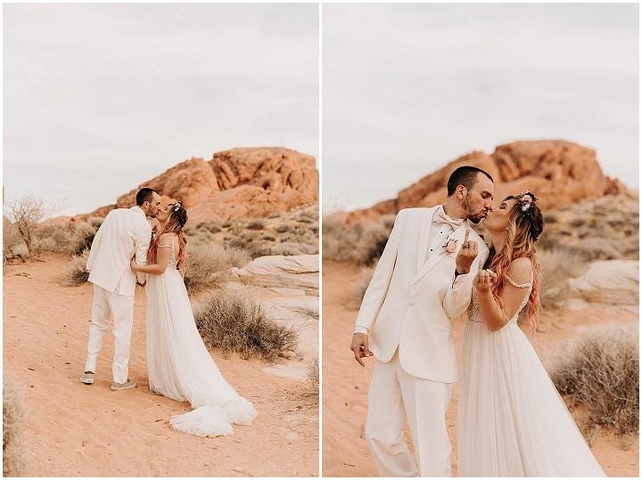 Courtney and Raymond's 'Dreamy Boho' Las Vegas Desert Elopement