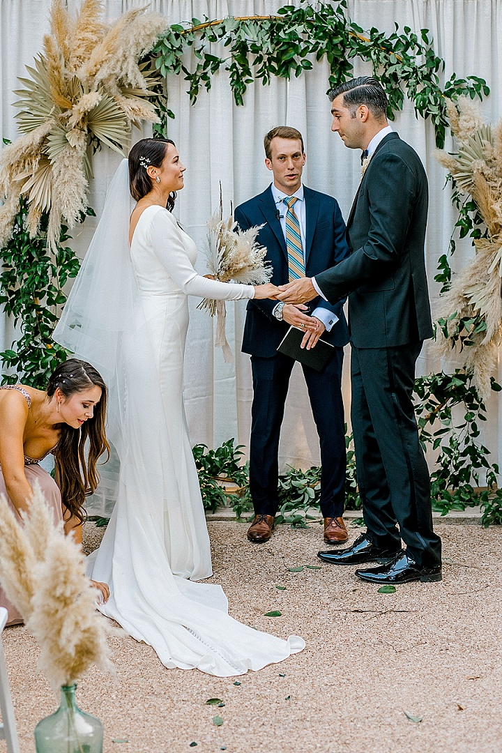Michele andFrank's Pampas Grass Filled Wedding at Home in Texas by Brittany Partain Photography