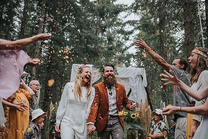 Chanelle and Michael's 70s Inspired DIY Glamping Wedding In The Swedish Forest by Snowflake Photo