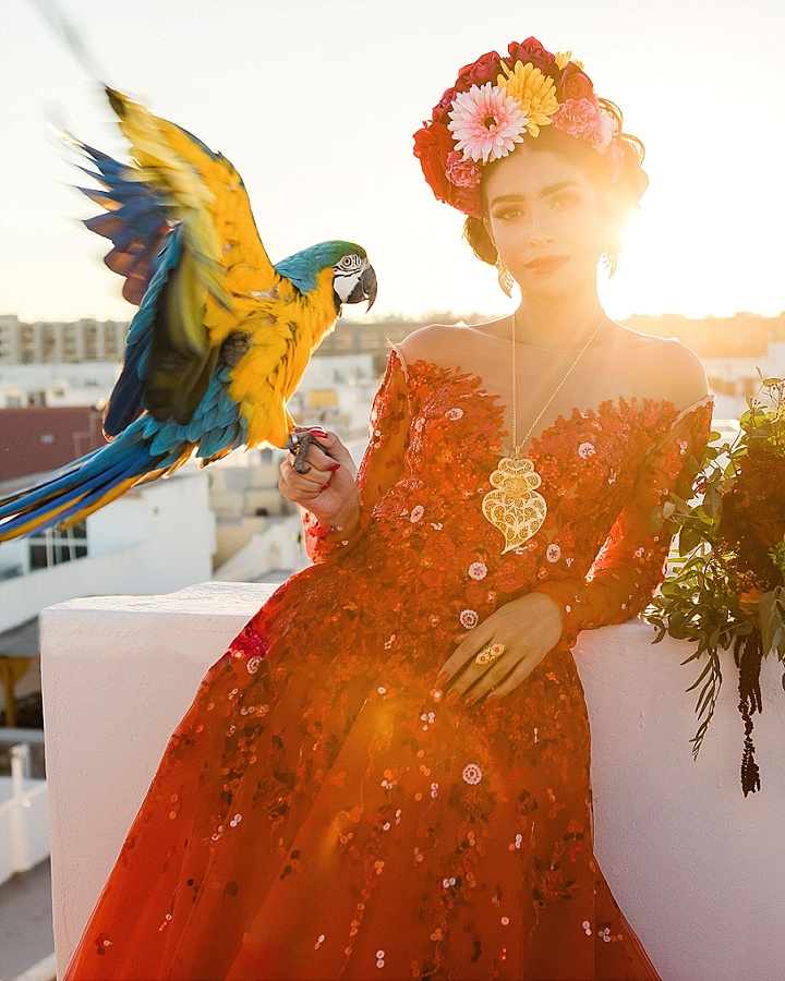 Frida Kahlo Inspired Elopement Styled Shoot with Blue the Parrot