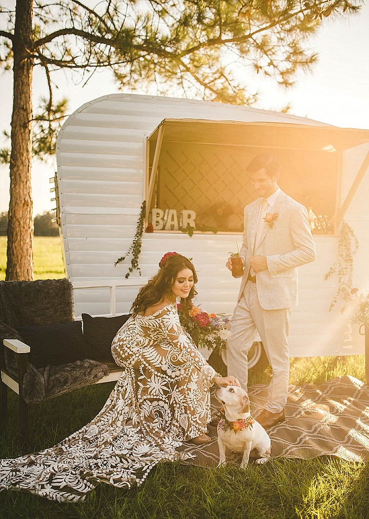 A Rainbow of Flowers and the Cutest Dog - Romantic Colorful Bohemian Elopement