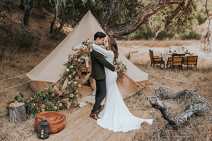 Glamorous Elopement Inspiration with Glamping and Whimsical Vibes